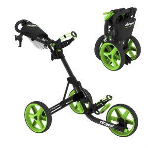 Clicgear golftrolleys nemen ingeklapt weinig ruimte in